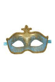 Light Blue and Gold Hand Painted Venetian Masquerade Mask With Metallic Fabric And With Glittery Scrollwork