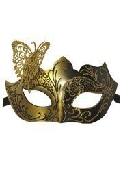 Venetian Black and Gold Eye Masquerade Mask with Glitter Accents and Butterfly