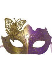 Venetian Purple and Gold Eye Masquerade Mask with Glitter Accents and Butterfly