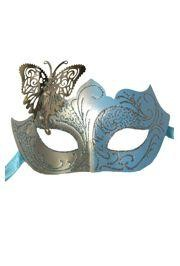 Venetian Light Blue and Silver Eye Masquerade Mask with Glitter Accents and a Butterfly