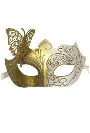 Venetian White and Gold Eye Masquerade Mask with Glitter Accents and a Butterfly