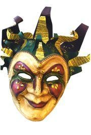 Mardi Gras Jester Paper Mache Venetian Big Mask With Hat Piece, With Music Bar Designs, And With Bel
