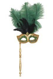 Gold and Green Venetian Feather Masquerade Mask On A Stick with Large Dark Green Ostrich Feathers and Glitter Accents