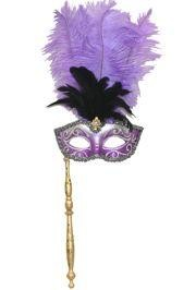 Silver and Purple Venetian Feather Masquerade Mask On A Stick with Large Light Purple Ostrich Feathers and Glitter Accents