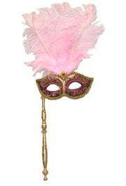 Gold and Pink Venetian Feather Masquerade Mask On A Stick with Large Pink Ostrich Feathers