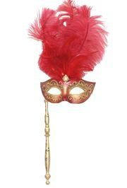Gold and Red Venetian Feather Masquerade Mask on a Stick with Large Red Ostrich Feathers