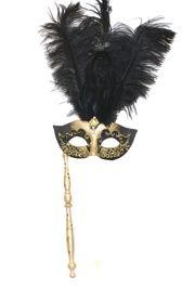 Gold and Black Venetian Feather Masquerade Mask On A Stick with Large Black Ostrich Feathers