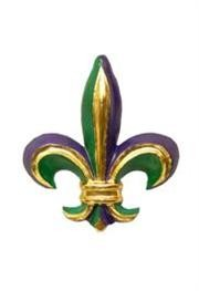 16in Tall x 13in Tall Purple/ Green/ Gold 3 Dimensional One Side Fleur-De-Lis Paper Mache Decoration