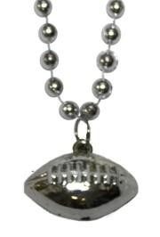 7mm 33in Silver Beads with Football Medallion