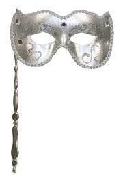 Silver Venetian Masquerade Mask on a Stick with Glitter Scrollwork, Acrylic Stones, And Fabric Trim