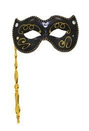 Black Venetian Masquerade Mask on a Stick with Acrylic Stones and Fabric Trim