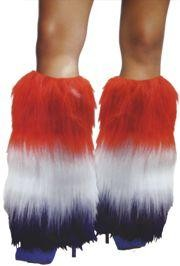 Red, White, Blue Furry Leg Warmers