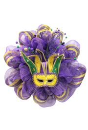 36in Mardi Gras Decorative Mesh Ribbon Wreath