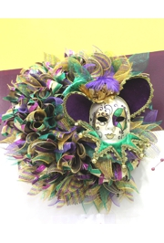 26in Mardi Gras Decorative Mesh Ribbon Wreath
