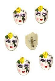 2in Tall x 1.5in Wide Hand Painted Decorative Mardi Gras Face Brooch/ Pin