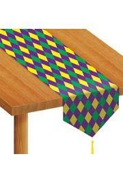 11in Wide x 6Ft Long Printed Mardi Gras Paper Table Runner