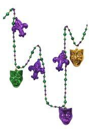 6ft Long Purple/ Green/ Gold Bead Garland w/ 3 1/2in Fleur-De-Lis and Comedy/ Tragedy Masks Designs