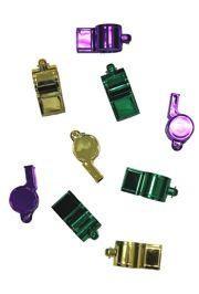 2 1/2in Metallic Purple/ Green/ Gold Whistles w/ Metal Ring