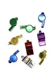 2 1/2in Metallic 6 Assorted Colors Whistles w/ Metal Ring
