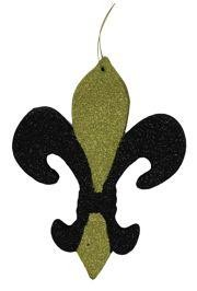 10in Tall x 7 1/2in Wide Black and Gold Glittered Fleur-De-Lis Two Sided Decoration