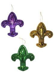 3in Wide x 3 1/2in Tall Metallic Purple/ Green/ Gold Fleur-De-Lis Ornament