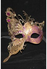 10in Wide x 6in Tall Purple Venetian Hand Painted Papier Mache Mask w/ Gold Metal Laser Cut and Crystals on Eyes