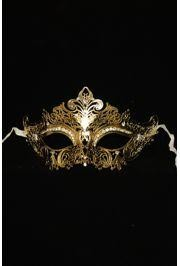 7in Wide x 4in Tall Venetian Metal Laser-Cut Gold Mask w/ Rhinestones