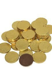 Wrapped Chocolate Coins In Gold Foil Stock Image - Image ...