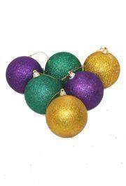 80mm Glittered Purple/Green/Gold Ornaments/ Balls
