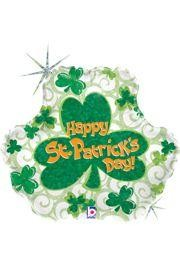 18in Tall St Pat Swirl Shamrock Holographic Mylar Balloons