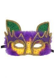 Mardi Gras Cat Masquerade Mask with Purple Feathers and with Fancy Gold Trim Around The Eyes And On The Edges