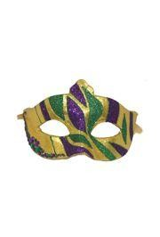 6in Wide x 4in Tall Mardi Gras Glittered Mask w/ Phinestones