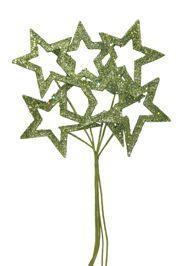 17in Long x 5in Wide Glittered Green Star Picks
