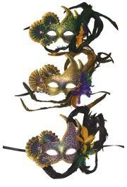 9in Whide x 8in Tall Venetian Paper Mache Styled Mask w/ Fans and Feathers On Top Side In Purple/ Green/ Gold