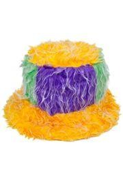 12in Wide x 7in Tall Furry Mardi Gras Bucket Hat