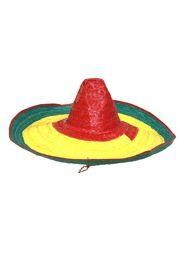 22in Wide x 8in Tall Multicolored Straw Sombrero Hat