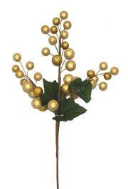 15in Tall x 8in Wide Glittered Gold Ball Bush