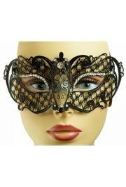 Venetian Metal Black Laser-Cut Masquerade Mask with Rhinestones