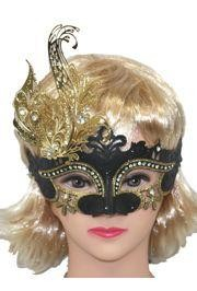 Black Venetian Hand Painted Masquerade Mask with Gold Metal Laser Cut and Crystals