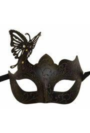 Venetian Black Eye Masquerade Mask with Glitter Accents and a Butterfly