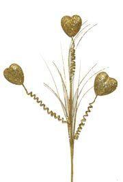 Gold Glitter Heart 3D Stem