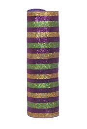 21in x 30ft Premium Mardi Gras Striped Metallic Mesh Ribbon