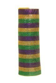 21in x 30ft Premium Metallic Mardi Gras Stripes Mesh Ribbon