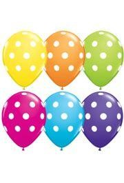 11in Bright Assorted Colored /White Polka Dotted Latex Balloons.