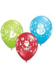 11in Christmas Novelty Assorted Latex Balloons