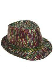 11in Long x 9in Wide Sequin Mardi Gras Fedora Hat