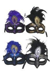 6in Wide x 9in Tall Assorted Papier Mache Venetian Mask W/Outlined With Black Fabric w/ 2 1/2in Nose