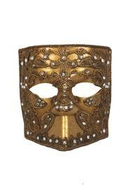 Gold Venetian Men Masquerade Mask with Fabric Design (Macrame) and Rhinestones