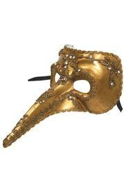 Gold Venetian Men Masquerade Mask with 7in Long Nose