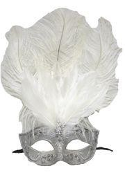 Silver Venetian Masquerade Mask with Rhinestones And White Ostrich Feathers